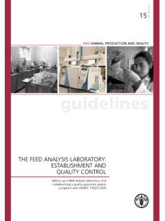 The feed analysis laboratory: Establishment and quality ...