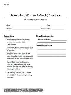 Lower Body (Proximal Muscle) Exercises