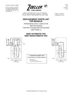 REPLACEMENT PARTS LIST FOR MODELS - Zoeller Pump …