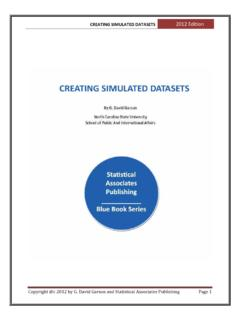 Creating Simulated Dataset - Statistical Associates