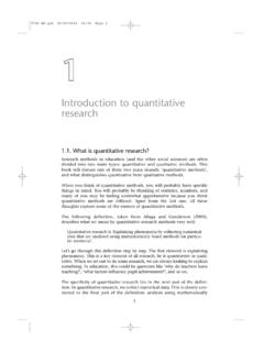 Introduction to quantitative research - SAGE …