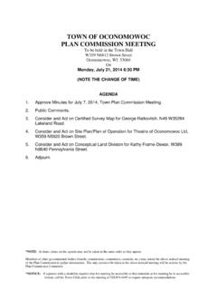 TOWN OF OCONOMOWOC PLAN COMMISSION MEETING  …
