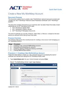 Create a New My WorkKeys Account
