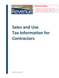 Sales and Use Tax Information for Contractors
