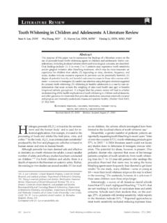 Literature Review Tooth Whitening in Children and ...