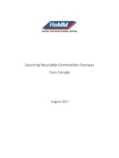 Exporting Recyclable Commodities Overseas from Canada
