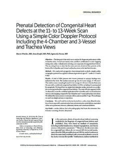 Prenatal Detection of Congenital Heart Defects at the 11 ...