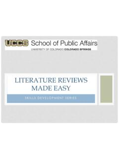Literature Reviews made easy - UCCS Home