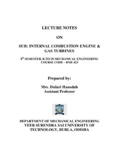 LECTURE NOTES ON SUB: INTERNAL COMBUSTION …