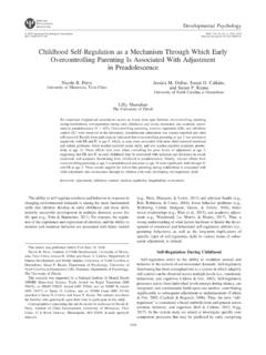 Childhood Self-Regulation as a Mechanism …