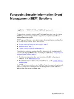 Forcepoint Security Information Event Management (SIEM ...