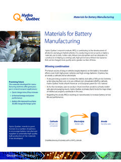 Materials for Battery Manufacturing - Hydro-Québec