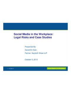 Social Media in the Workplace: Legal Risks and Case Studies