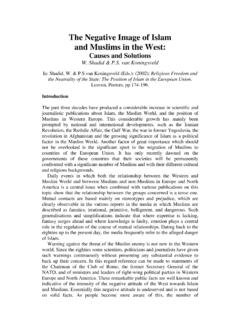 The Negative Image of Islam and Muslims in the West