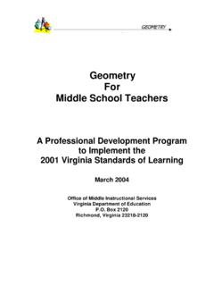 Geometry For Middle School Teachers