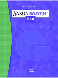 Student Edition SAXON MATH - Tri Central Elementary