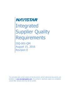 Integrated Supplier Quality Requirements