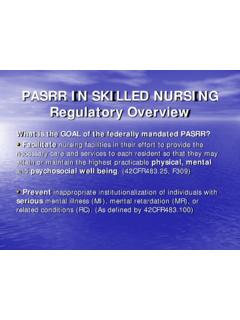PASRR IN SKILLED NURSING Regulatory Overview