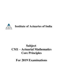 Subject CM1 Actuarial Mathematics Core Principles For 2019 ...