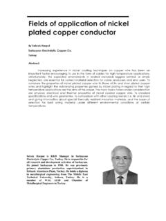 Fields of application of nickel plated copper conductor
