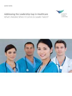Addressing the Leadership Gap in Healthcare What's Needed ...