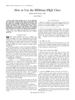 JOURNAL OF LA How to Use the IEEEtran LATEX Class