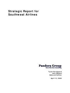Strategic Report for Southwest Airlines - Pomona College