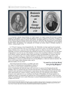 Benjamin Franklin on Rev. George Whitefield, 1739