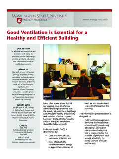 Good Ventilation is Essential for a ... - WSU Energy Program
