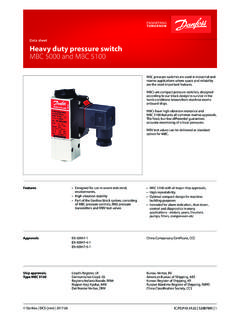 Data sheet Heavy duty pressure switch MBC 5000 …