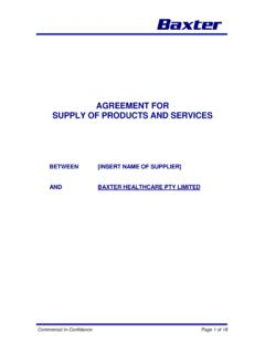 AGREEMENT FOR SUPPLY OF PRODUCTS AND SERVICES