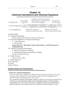 Chapter 10 Chemical Calculations and Chemical Equations