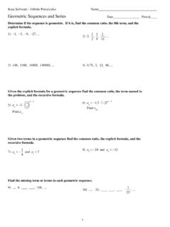 Geometric Sequences and Series Date Period