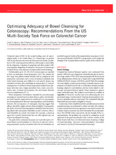 Optimizing Adequacy of Bowel Cleansing for …