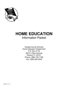 HOME EDUCATION - Volusia County Schools