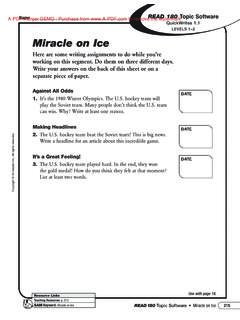 LEVELS 1Ð2 Miracle on Ice - Scholastic
