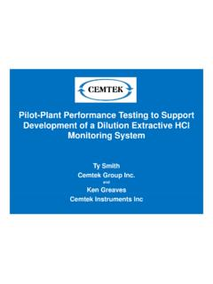 Pilot-Plant Performance Testing to Support Development of ...