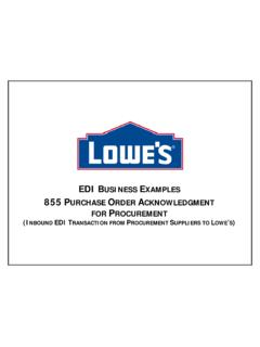 EDI BUSINESS EXAMPLES - LowesLink