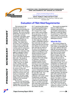 Evaluation of Fillet Weld Requirements (1501-S)