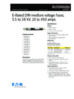 Technical Data 10638 E-Rated DIN medium voltage fuses, …