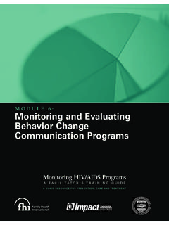 MODULE 6: Monitoring and Evaluating Behavior Change ...
