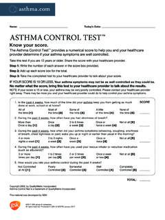 Name: Today's Date: ASTHMA CONTROL TEST