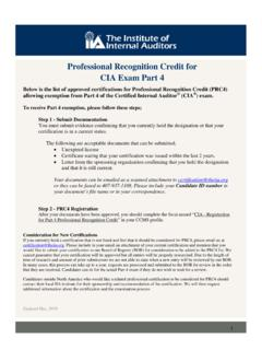 Professional Recognition Credit for CIA Exam Part 4