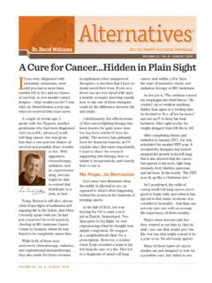 VOLUME 22 • N AUGUST 2019 A Cure for Cancer…Hidden in ...