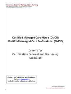 Certified Managed Care Nurse (CMCN) Certified Managed …