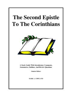 The Second Epistle To The Corinthians - …