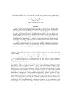 Maximum likelihood estimation of mean reverting …