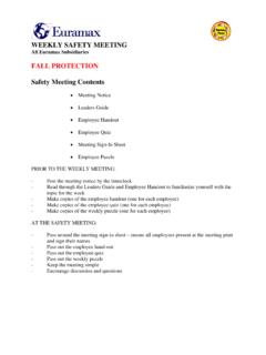 WEEKLY SAFETY MEETING FALL PROTECTION …