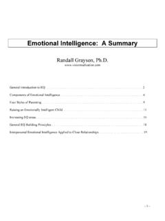 Emotional Intelligence: A Summary - Vision …