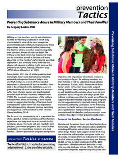 Preventing Substance Abuse in Military Members and Their ...